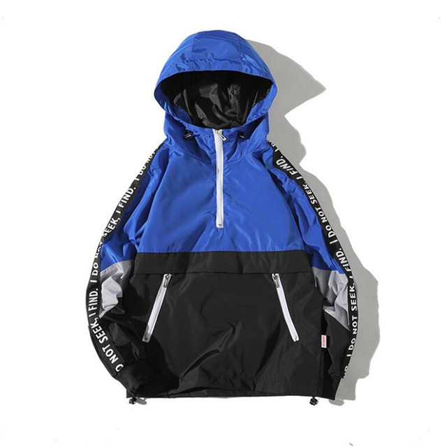 IGGY Patchwork Color Block Pullover Hooded Jackets 2018 Autumn Zipper Tracksuit Casual Jacket Coats Hip Hop Male Streetwear