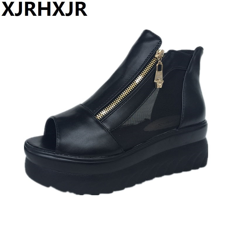 2017 Summer Fashion Platform Women Sandals Boots Shoes Fish Head Zipper Thick With Rome Wedge Sandals Female High-top Shoes slope with super high heels 14cm platform shoes sandals and slippers spring and summer fish head thick crust waterproof shoes