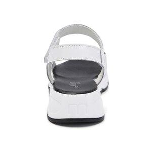 Image 4 - Vrouwen Platform sandalen schoenen Echt Lederen dames wit Flats Sneakers Sandalen schoen 2018 zomer open teen Mode schoenen