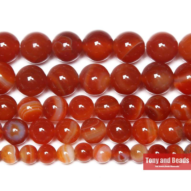 Miễn Phí Vận Chuyển Đá Tự Nhiên Duy Băng Ren Đỏ Agat Tròn Rời Hạt 4 6 8 10 12 Mm Chọn Kích Thước Cho bộ Trang Sức Làm