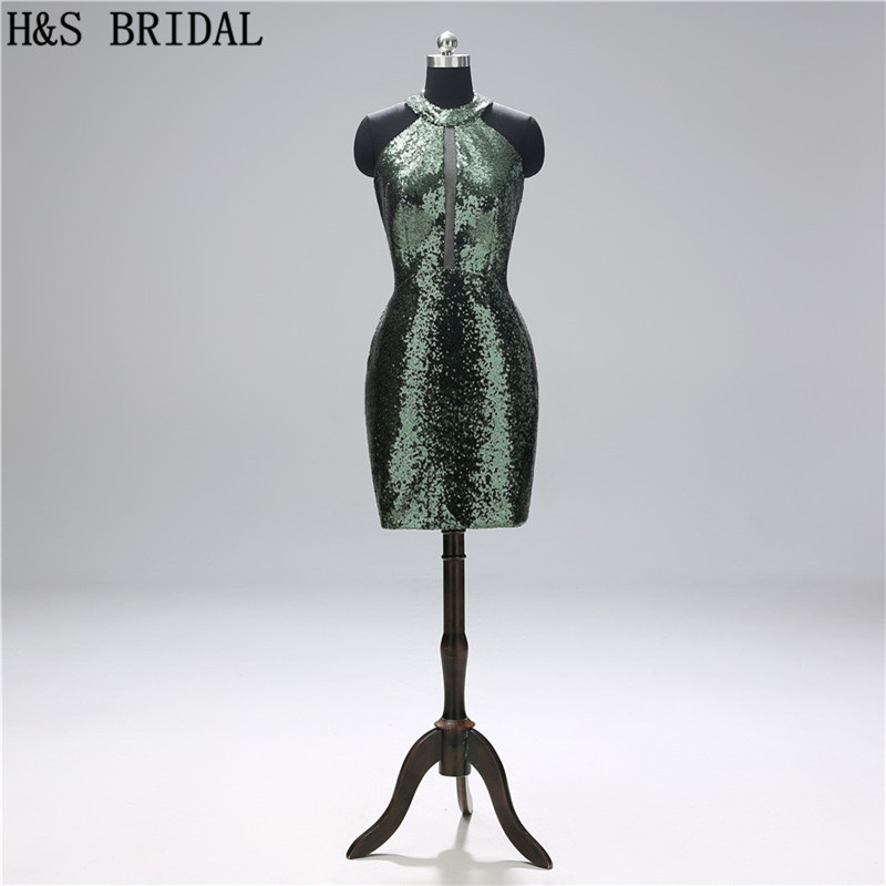 H&S BRIDAL Sequin   Cocktail     Dresses   Dark Green Short Party   Dress   robe   cocktail   Sexy prom gowns 2019