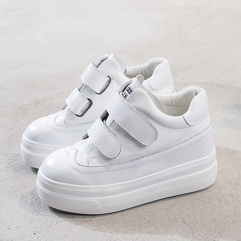 2019 En 40 Espadrilles Augmenté black black Cuir Automne 32 Chaussures Fond Femmes white De Boucle Taille Décontractées Blanches Printemps White Épais Petit BqwrCtEB