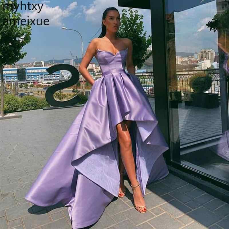 אירוע לבנדר גבוהה נמוך בתוספת גודל סגול שמלות נשף פשוט סאטן מתוק מחשוף צד פורמלי שמלות קצר מול ארוך בחזרה