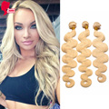"""9A TOP Grade #613 Blonde Virgin Hair 3Pcs/Lot Blonde Russian Body Wave Human Hair Extensions 10""""-26"""" Sunny Queen Hair Products"""