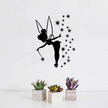 Little Fairy Silhouette With Wings Wall Stickers Home CHildren Bedroom Sweet Decor Vinyl Murals Stars W-596