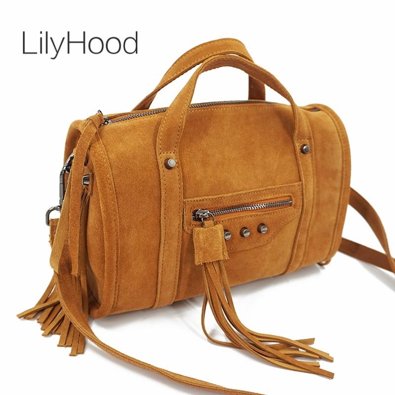 LilyHood 2018 Women Genuine Leather Fringe Boston Shoulder Bag Hip Hop Casual Suede Nubuck Duffle Rivet