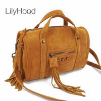 LilyHood 2018 Women Genuine Leather Fringe Boston Shoulder Bag Hip Hop Casual Suede Nubuck Duffle Rivet Top Handle Crossbody Bag