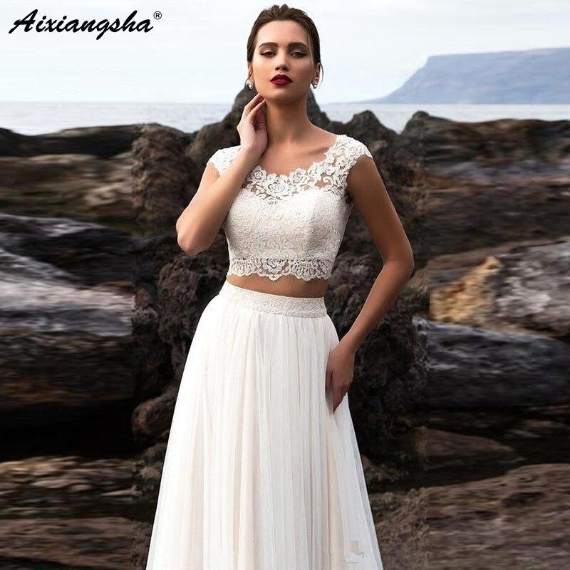 Robe de mariée Simple 2019 2 pièces une ligne Appliques dentelle Tulle jupe sur mesure plage mariée robe longueur de plancher vestido de noiva