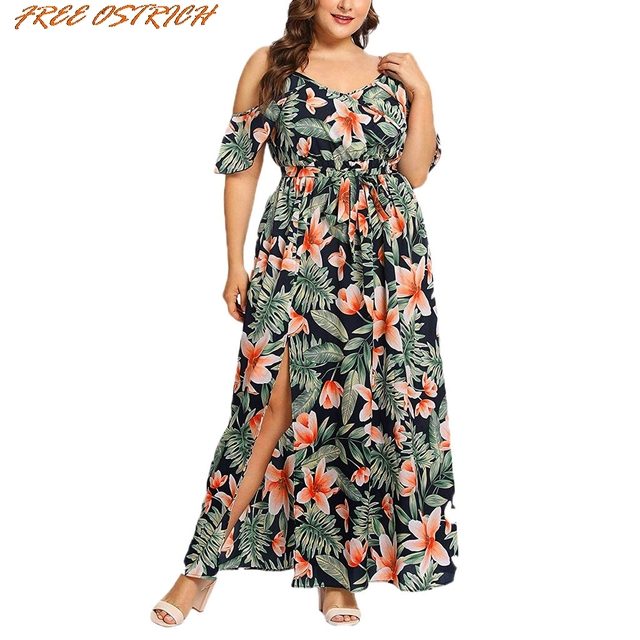 FREE OSTRICH Women Plus Size Short Sleeve Casual Bohemian Ruffled Banded Long Dress Women Dresses Free Shipping Lady Dresses