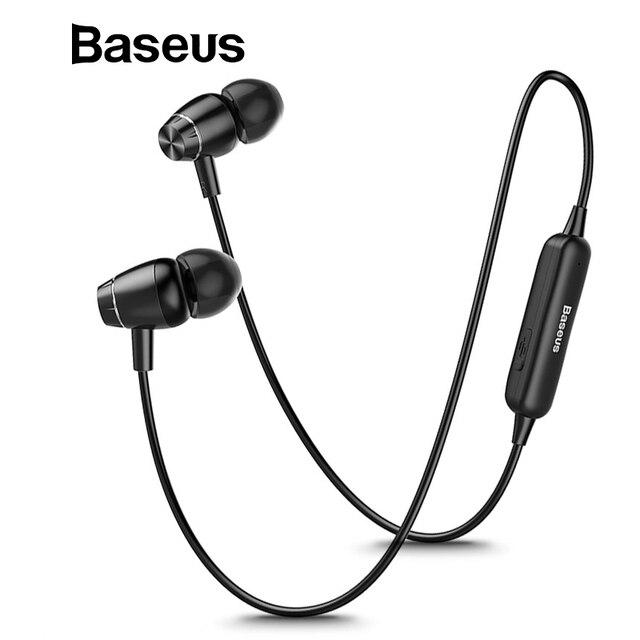 Baseus S09 Bluetooth наушники Беспроводной наушники магнитные наушники С микрофоном Стерео Auriculares Bluetooth наушники для тренажерного зала