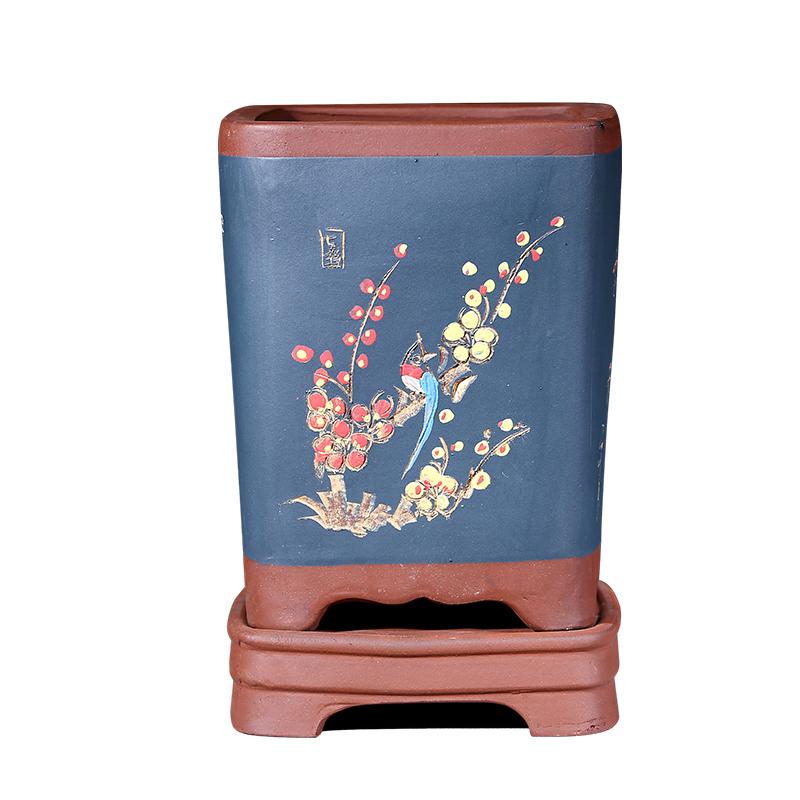 Wholesale Chinese style Purple Clay flower pot,Square Orchid Pot Balcony Green plants pot hand colored bonsai Pot with Tray