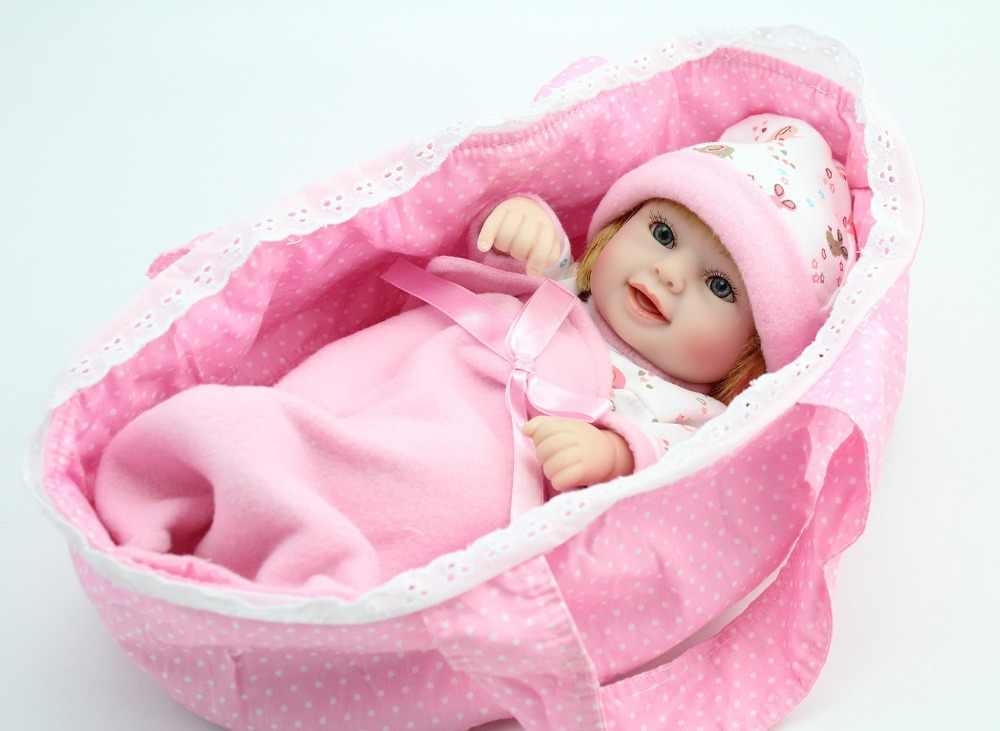 NPK POP 10 ''Mini Reborn Pop Volledige Vinyl Roze Meisjes Mand Levensechte Echte Pasgeboren Baby Modieuze met hoed Mooie glimlach