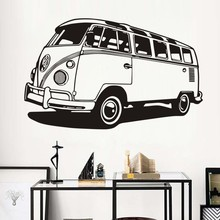Travel Camper Car Vinyl Wall Sticker For Kids Room Mural Van Classic Antique Decal Living Decoration W442