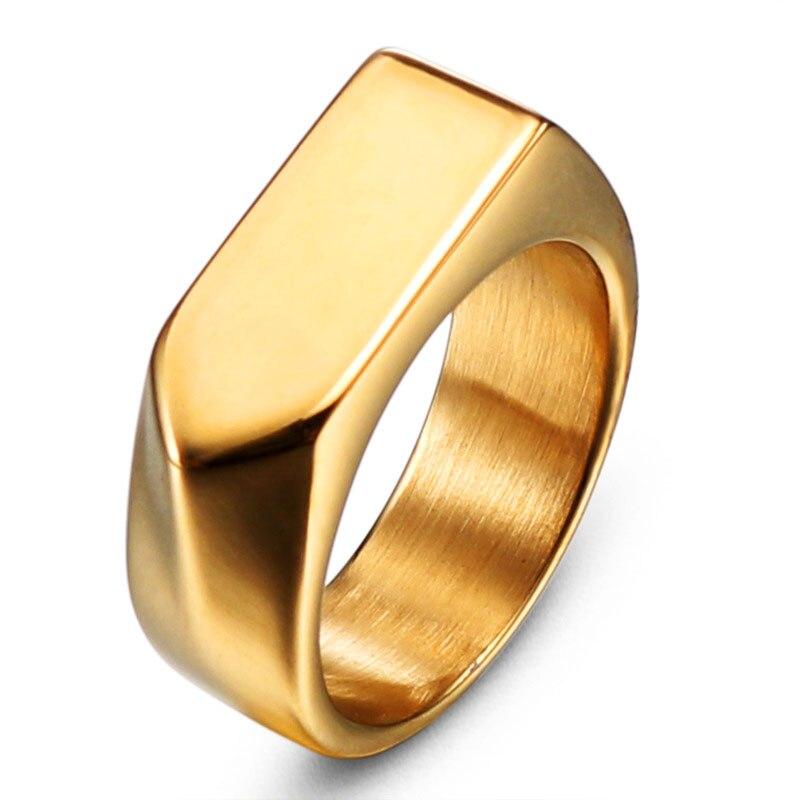 9abad686b67f Oro Negro hombres 316L de acero inoxidable pulido de alta Rock punk dedo  anillo fresco anillo de ...
