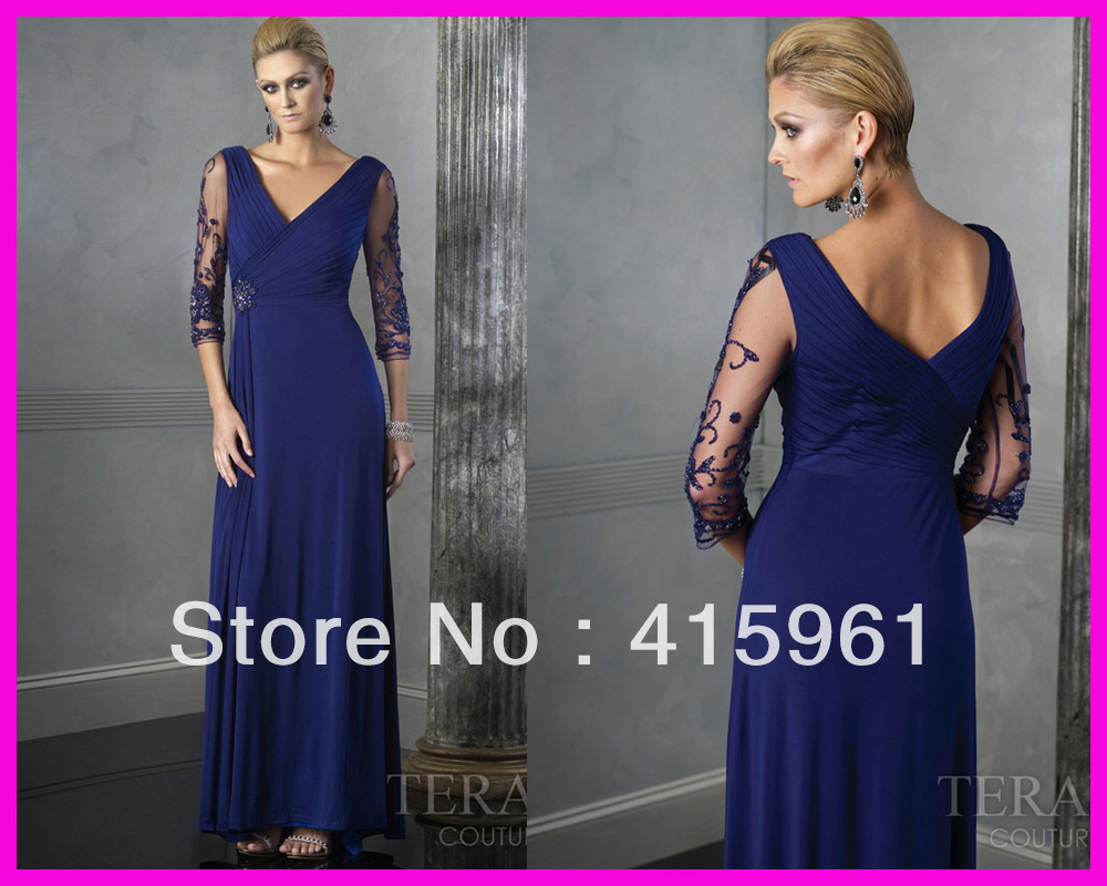 free shipping 2019 long Royal Blue V neck Beaded custom vestido Chiffon mother of the bride dresses for weddings Long Sleeves in Mother of the Bride Dresses from Weddings Events