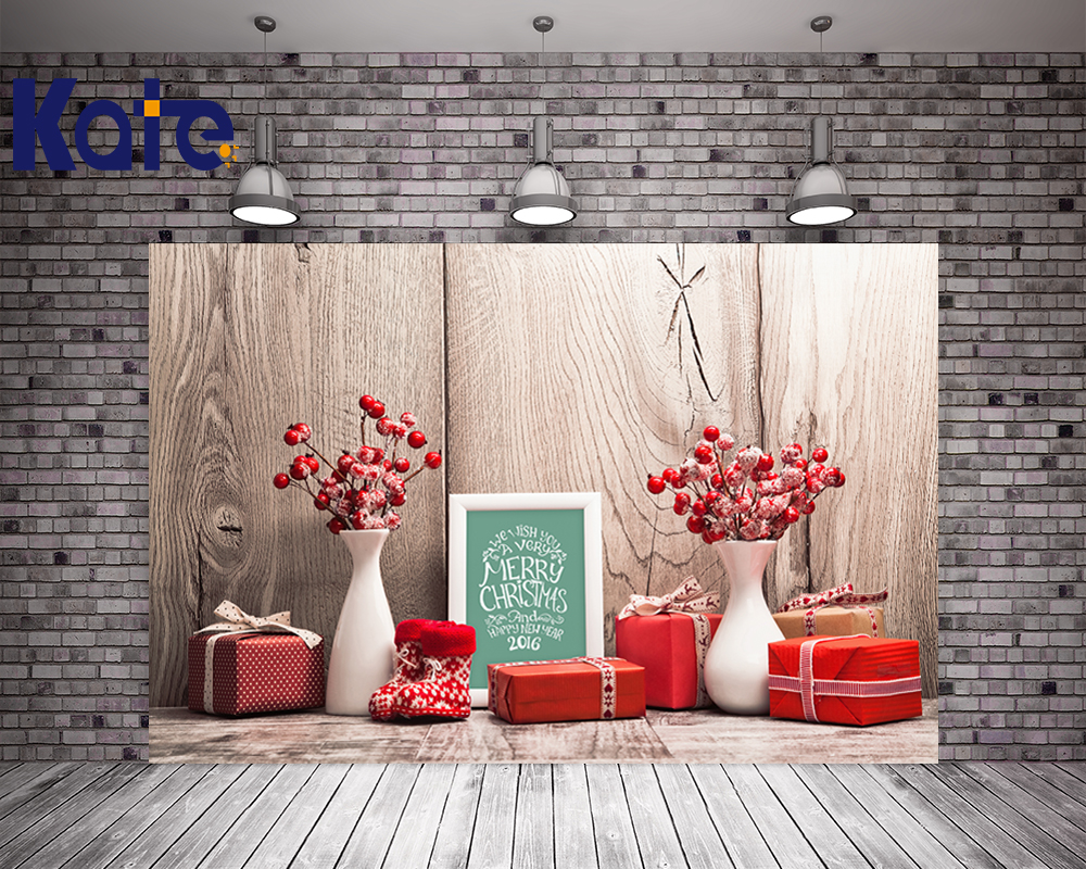 5X7Ft Kate Christmas Photography Backdrops Wood Floor Red Box Wooden Photographic Background For Children Photo retro background christmas photo props photography screen backdrops for children vinyl 7x5ft or 5x3ft christmas033