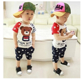 2016 Children's wear the new summer Male child baby baby clothes suit 0-4 years old suit with short sleeves