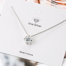 Hot 925 Sterling Silver Necklace For Women Exquisite Zircon Love Cube Girl Jewelry Engagement Accessories Fashion Gifts