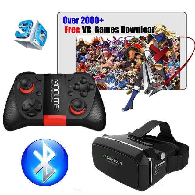 Hot! óculos de realidade virtual vr shinecon google papelão pro versão vr óculos + controle remoto inteligente sem fio bluetooth gamepad