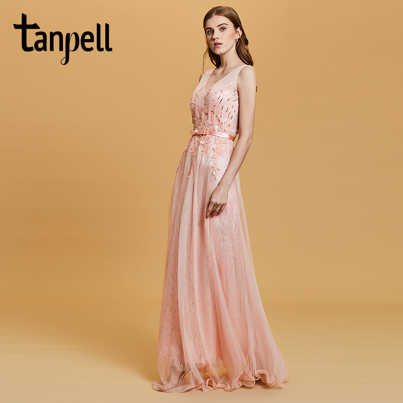 Tanpell Sequins Prom Dress Pink Sleeveless Floor Length A Line Dresses Women Appliques Backless Formal Evening Long Prom Gown