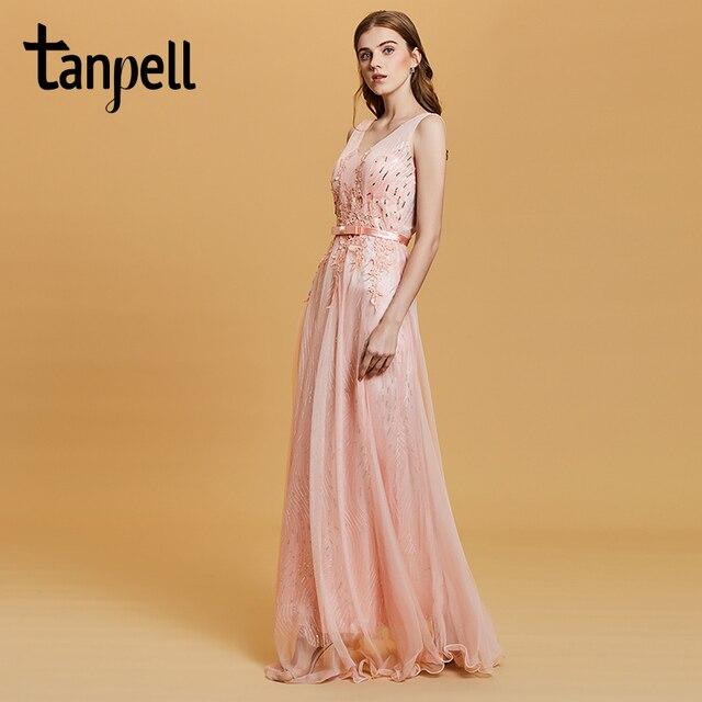 Tanpell блестками платье для выпускного вечера Розовый без рукавов Длина до пола линии платья женские Аппликации спинки Формальное вечернее длинное платье на выпускной