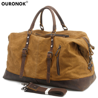 OURONOK Travel Bag Large Capacity Notebook Luggage Bags Waterproof Canvas Leather Men Travel Bags Carry On Luggage Shoulder Bags