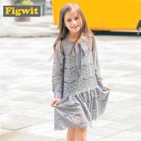 Figwit Girl Lace Dress Summer Mesh O Neck For Teen Girls White Gray Floral A Line Long Sleeve Teenager 6 8 10 12 Years Kid Dress