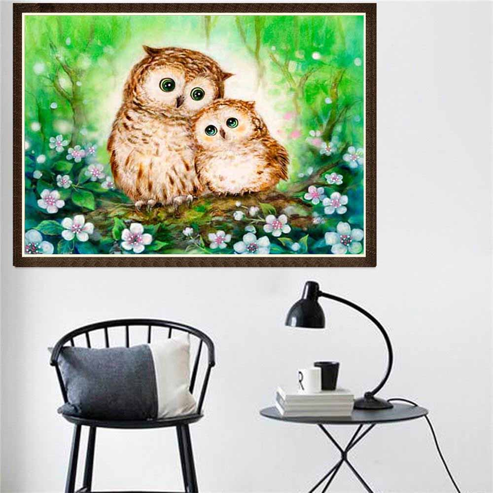 FineTime 5D Two Owls DIY Animals Diamond Painting Partial Round Drill Diamond Embroidery Mosaic Cross Stitch in Diamond Painting Cross Stitch from Home Garden