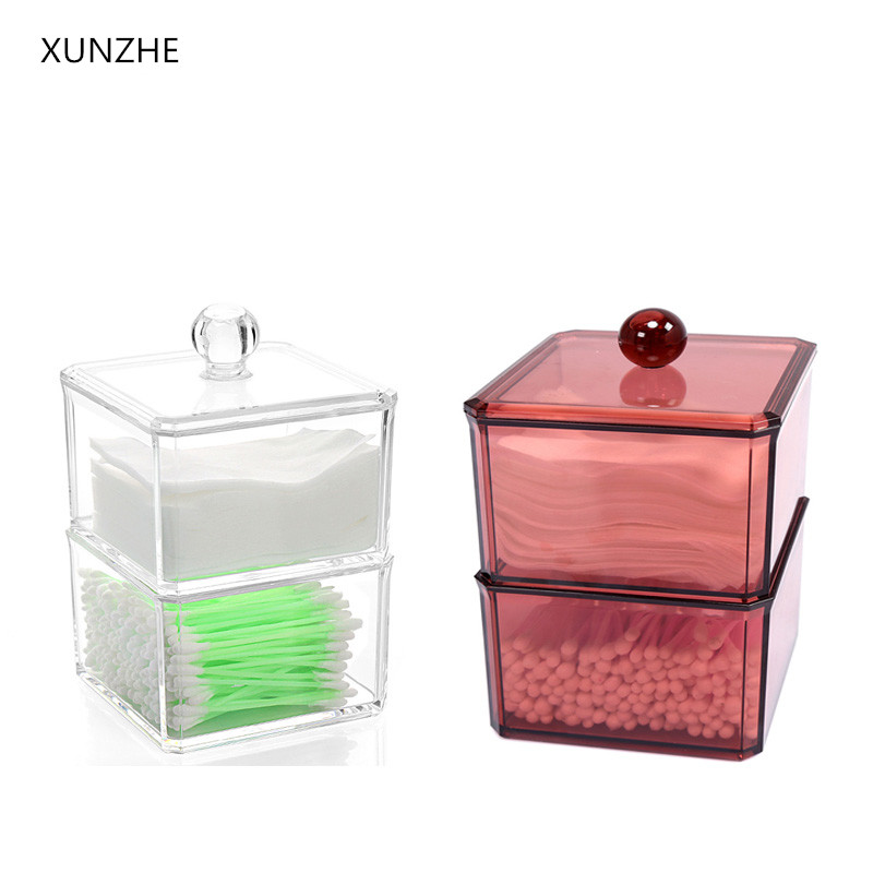 XUNZHE Clear Acrylic Makeup Storage Box Portable Cotton Swabs Organizer Box Cosmetic Q-tip Storage Holder Cotton Pads Container