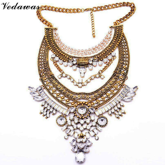 Vedawas Vintage Statement Jewelry Women Crystal Rhinestone Bead Choker Necklace Collar Metal Pendant Maxi Necklace handmade 1622