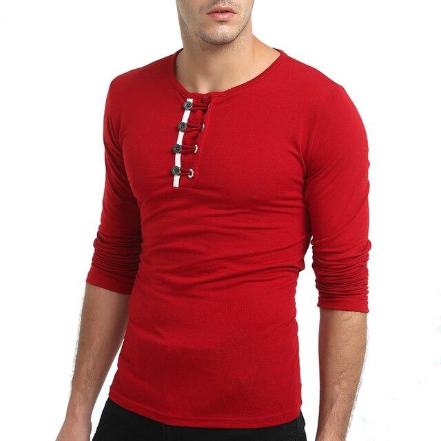 d83205d7e300 Personality Button Design Men T Shirts Long Sleeve Slim Fit Round Collar T-Shirt  Mens Solid Autumn Winter Tee Shirt Homme 3XL-M