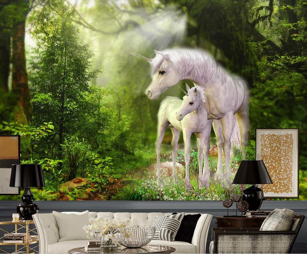 Customize Wallpapers For Home Walls 3d Living Room Bedroom Green Forest White Horse Hd Wallpaper Tv Background Wall Wallpapers Aliexpress