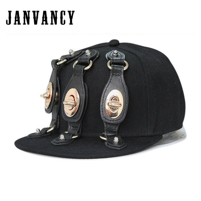 Janvancy Steampunk Casquettes de Baseball Hommes Femmes Snapback Noir Os Plat Designer Hip Hop Punk Chapeaux De Luxe Main-cloué En Plastique Rivet