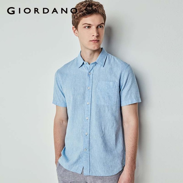 756cef72b Giordano Men Shirt Linen Short Sleeve Pocket Shirt Slim Fit Solid Colors  Stripe Design 2018 New