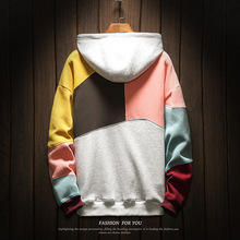 Spring mens hooded plus velvet  Korean version of the trend personality stitching loose large size jacket
