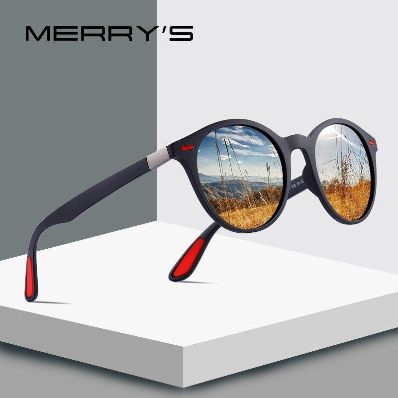 MERRY'S diseño de las mujeres de los hombres de mujer T/clase camisa/Camiseta tipo mujeres de suave camiseta ser amable remache gafas de sol polarizadas TR90 piernas ligero diseño Oval marco UV400 protección S'8126