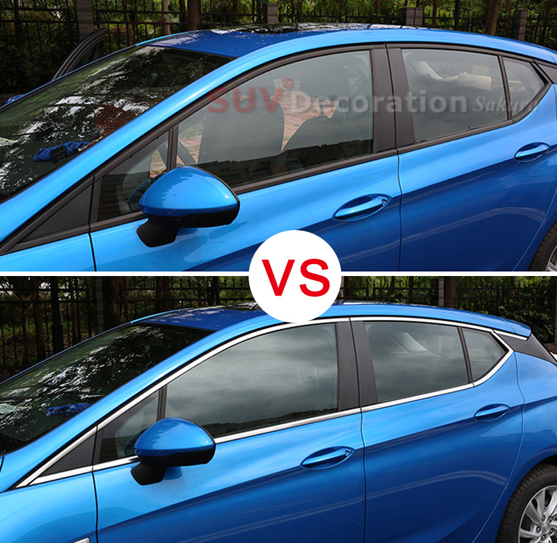 only suitable for the hatchback ! for Opel Astra K 2015 2017 Stainless Upper & Bottom Window Sill Guard Cover Trim 16pcs
