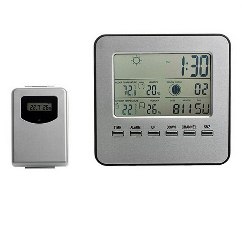 1 PC LCD Weather Station Touch Buttons In/outdoor Temperature Clock Humidity Digital clocks Wireless Sensor Thermometer P50