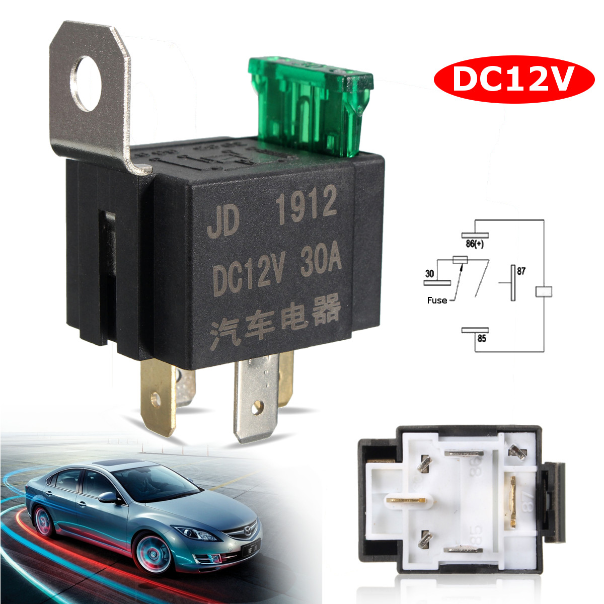 Mini Practical Car Fused Relay DC 12V 30A 4 Pin Electronic Relay Portable Motocycle Automobile Bike Auto Fused On/Off Relay