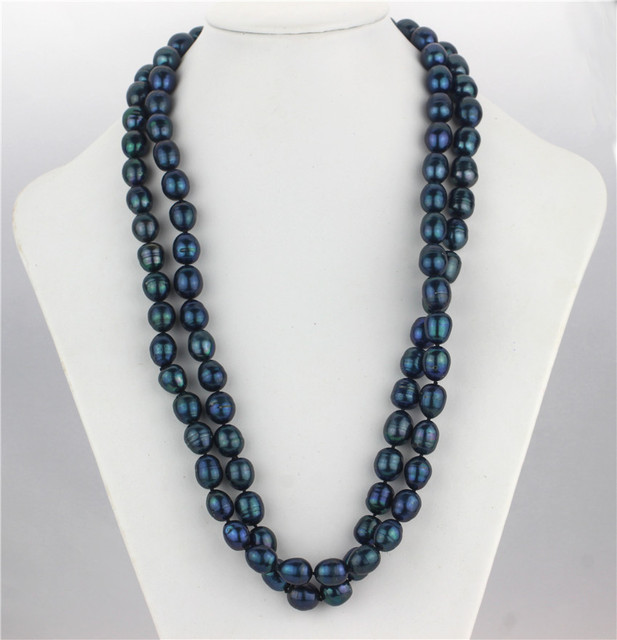 Natural Freshwater Black Pearl Long Necklace