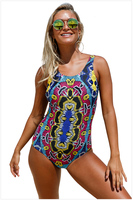 Free Shipping Sexy Push Up Moroccan Dream Tribal Printing Bikini Women One Piece Swimsuit 4F410230