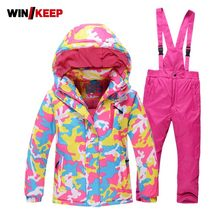 2019 New Pink Camouflage Printed Children Girl Skiing Suit Warm Windbreaker Hoody Jacket Snow Pants Tracksuit Snowboard Kids Set(China)
