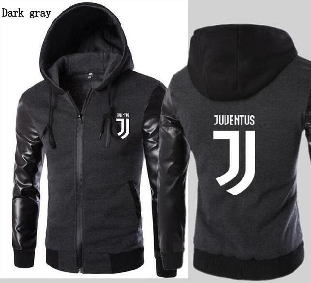 2019 New Fashion Hooded Leather Sleeves Juventus Jacket Men S Sports