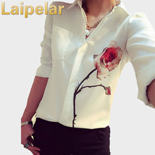 Laipelar White Collar Shirt Women Summer 2018 Fashion Printed Flowers V-Neck Tops Long Sleeves Blouse Female Shirts