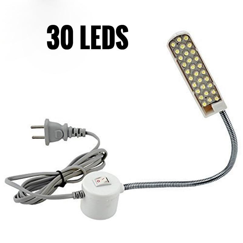 Flexible Gooseneck 30 LED Night Light Lamp 220V Magnetic Mounting Nightlight Lamp LED Machine Sewing Light for Reading Studying