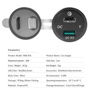 Image 4 - À prova dwaterproof água 12 v 24 v tipo c pd qc 3.0 usb carregador de carro led voltímetro adaptador de energia para telefone inteligente tablet barco motocicleta nova