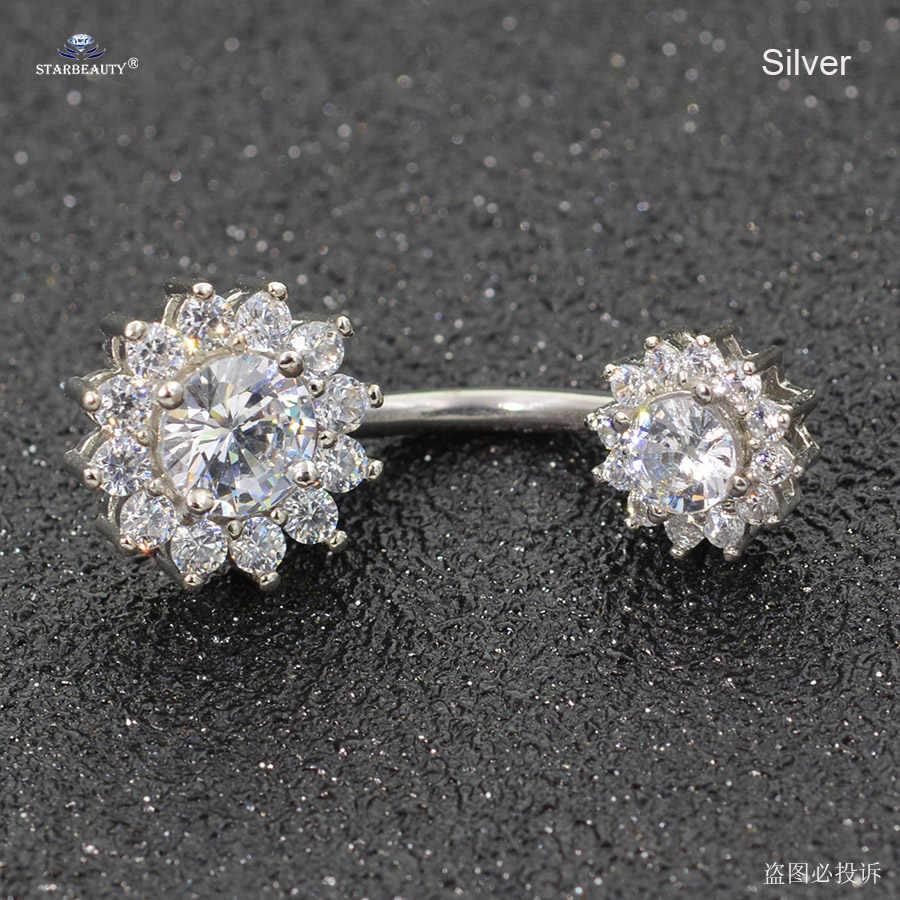 Серьги Starbeauty 14 г с большими прозрачными камнями, висячие кольца с пуговицами для живота, серьги в виде цветка из розового золота, серьги для пирсинга живота, серьги для пупка, ювелирное изделие