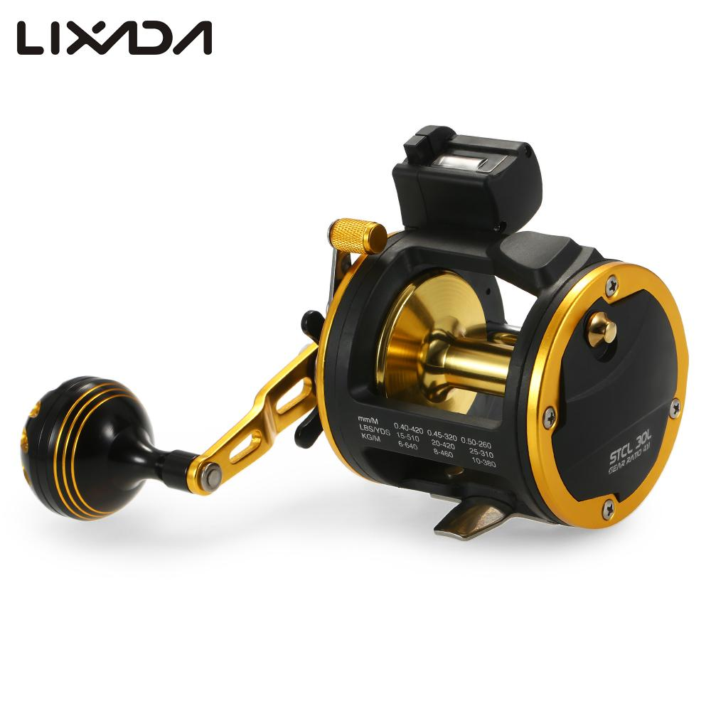 7 BBs Fishing Trolling Reel with Line Counter Alarm Right Left Hand Casting Sea Fishing Reel