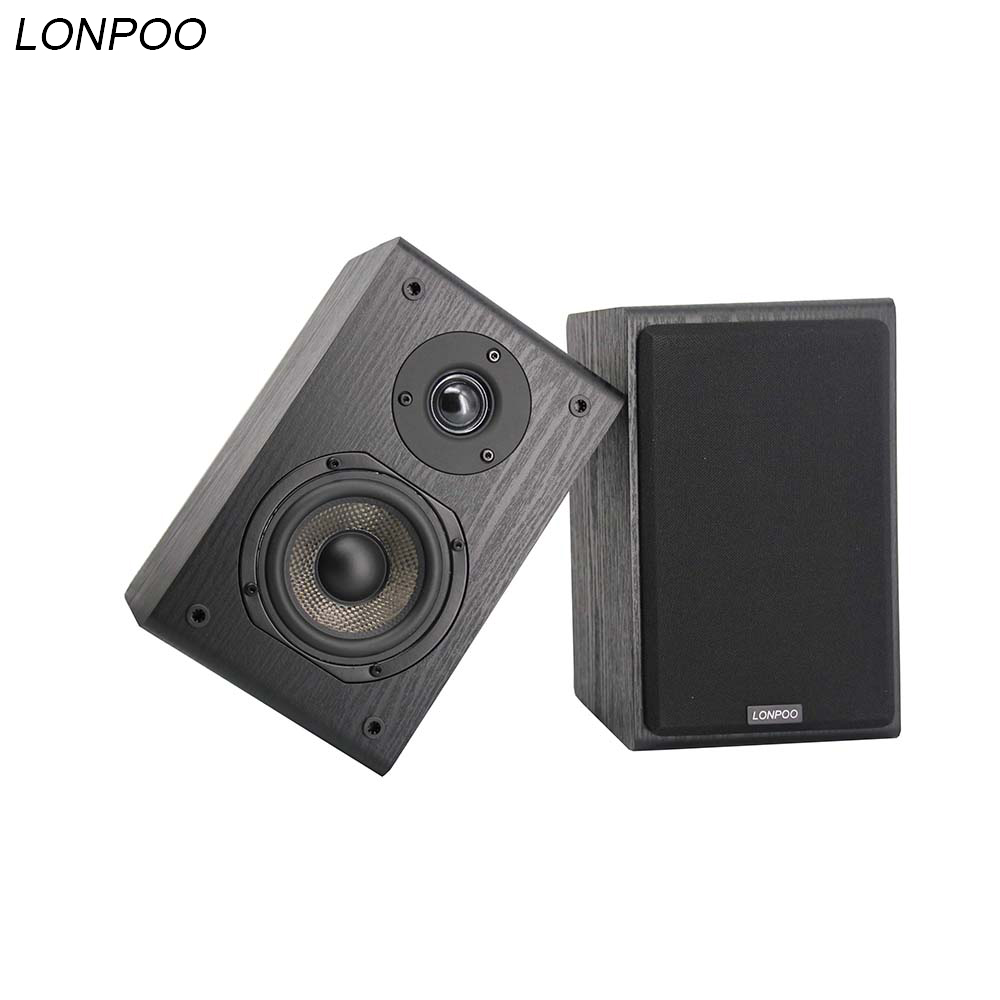 LONPOO Bookshelf Speakers HIFI Speakers Loudspeaker Wooden Stereo Sound Speaker Subwoofer for Home theater Speaker -black