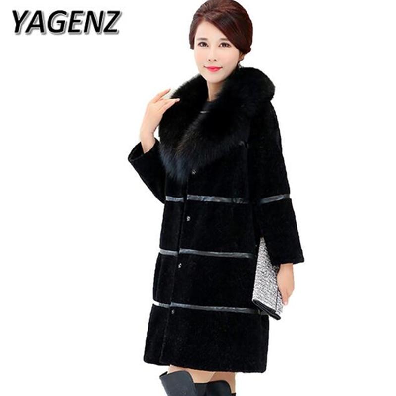 YAGENZ2017 Winter Faux fox fur Jacket Warm Women Coat Fashion Elegant Slim Black Faux fur Long Overcoat Female new Plue size 5xL